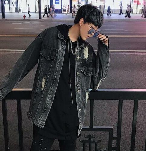 Men Chain decor Loose Coat Hiphop Punk Autumn Outwear Denim Overcoar sz