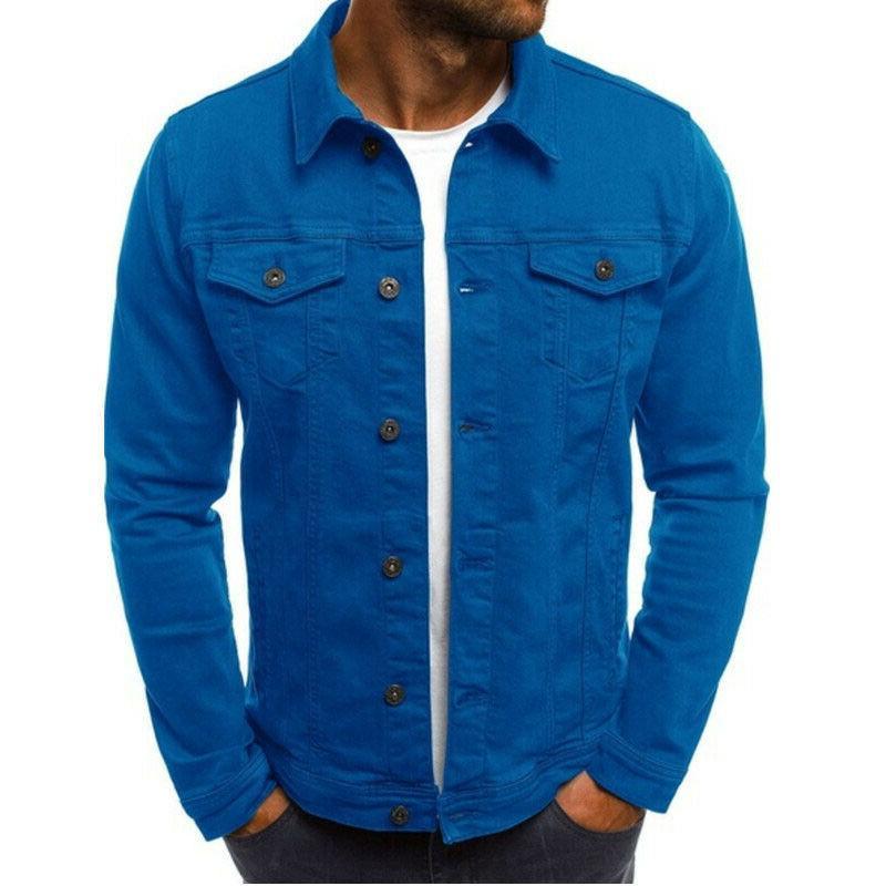 Men Coat Jean Single Casual Outerwear G