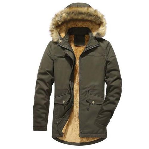 Men Down Jacket Winter Thicken Overcoat Fur Long Collar Cott