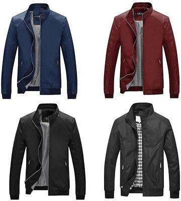 men fashion slim casual lightweight varsity casual