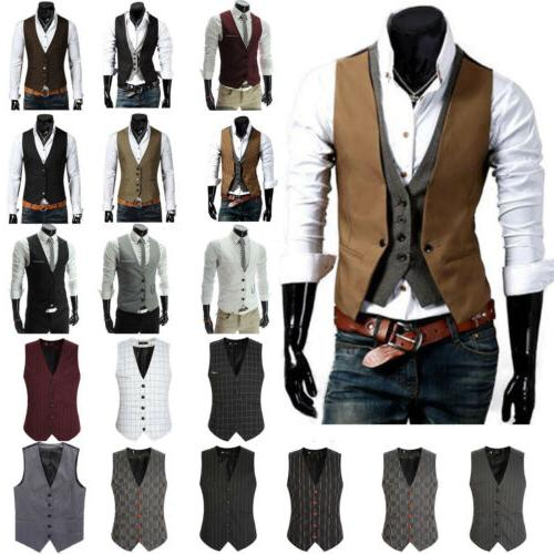 Men Formal Business Slim Fit Suit Vest Wedding Tuxedo Waistc