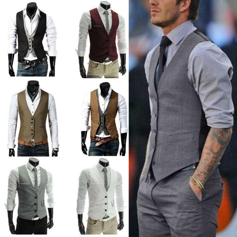 Men Formal Tuxedo Waistcoat Business Dress Vest Suit Tops Bl