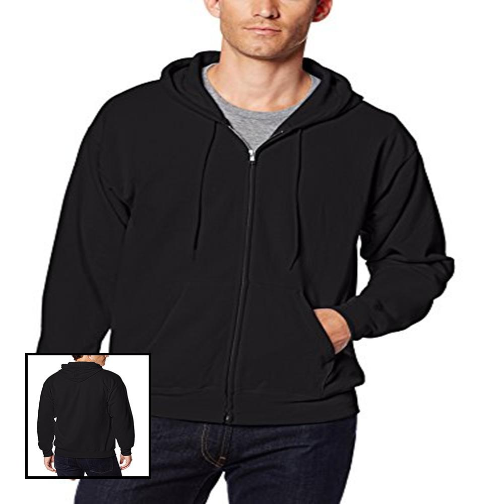 men full zip ecosmart fleece hoodie black