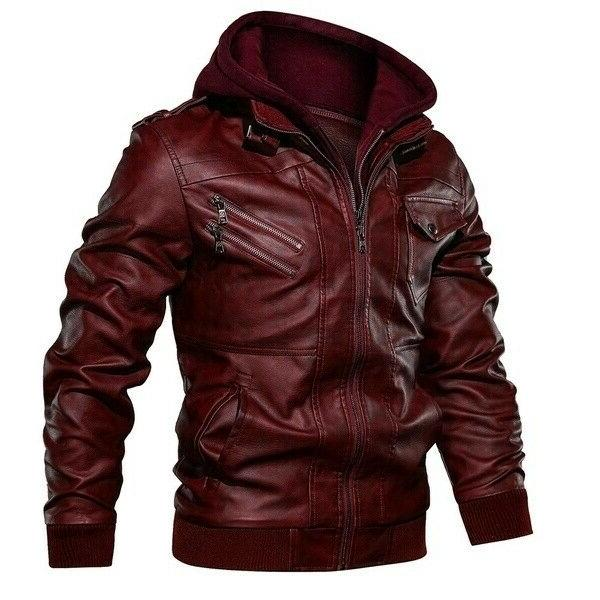 Men Leather Jacket Casual Fit Jackets Motorcycle Zipper Coat