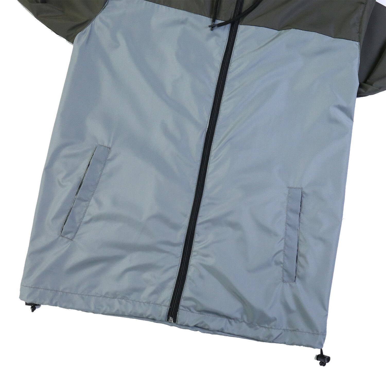 Men Hooded Lightweight Windbreaker Zipper Outdoor Sports Jacket