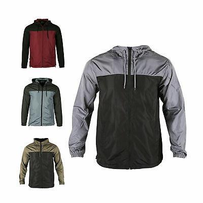 men hooded water resistant lightweight windbreaker zipper