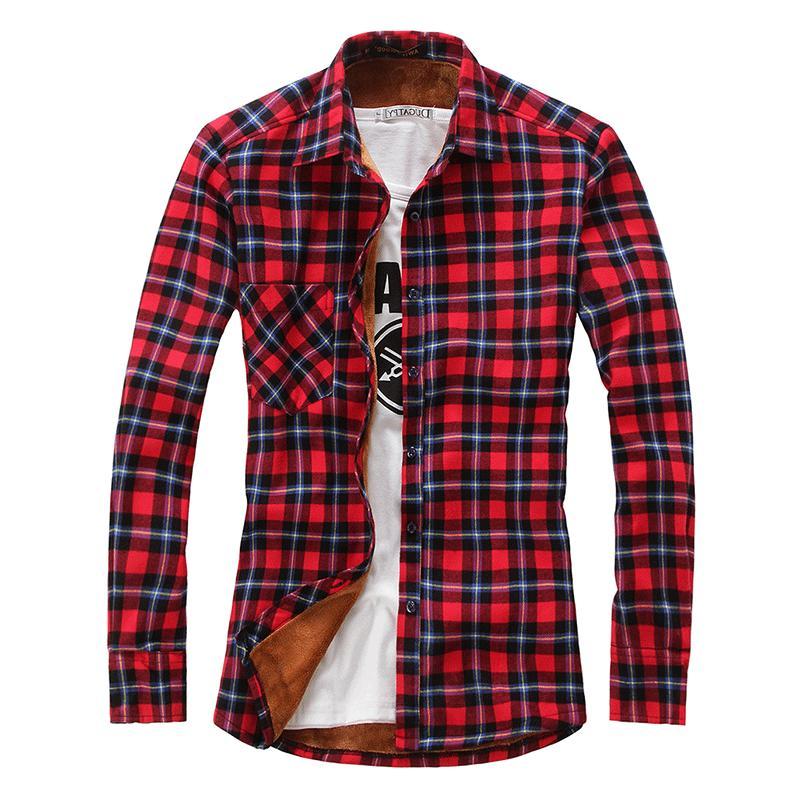 Chouyatou Men Fleece Flannel Buttoned Overshirts Jacket