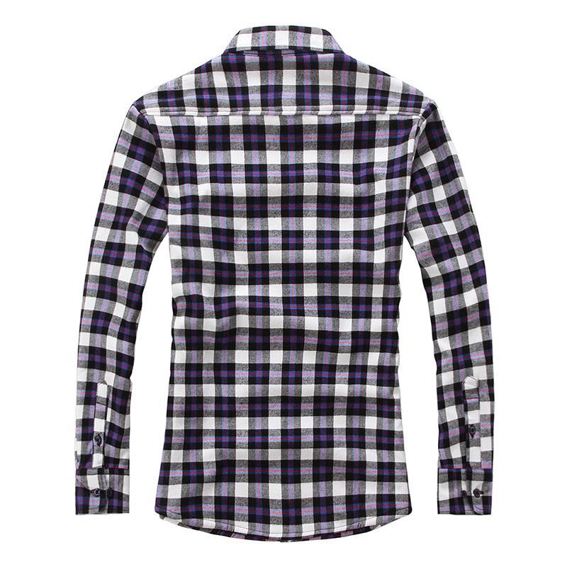 Chouyatou Men Fleece Plaid Buttoned