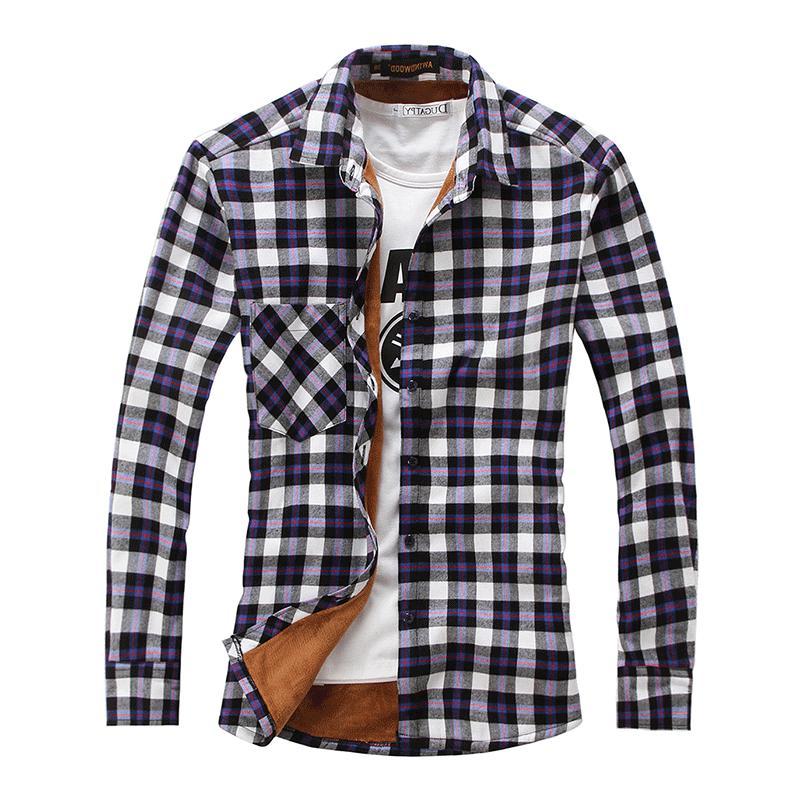 Chouyatou Men Fleece Lined Plaid Flannel Buttoned