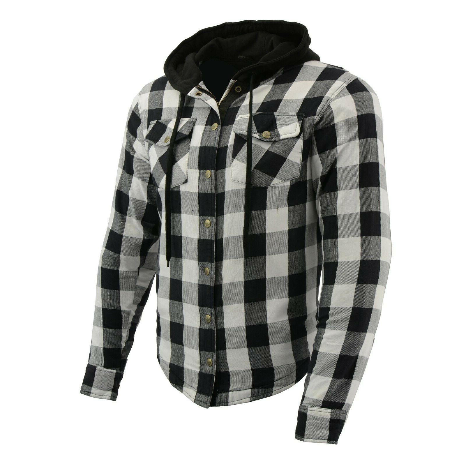 men s armored checkered flannel biker shirt