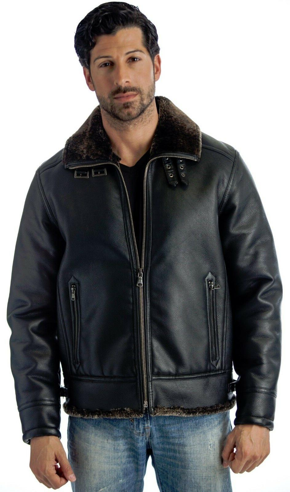 Reed Men's B-3 Bomber Jacket Faux Leather Shearling Style Co