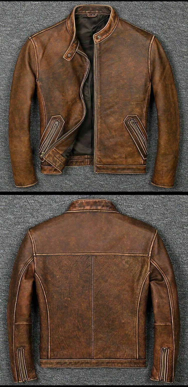 Men's Biker Racer Vintage Brown Leather