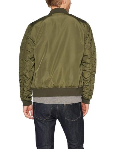 Goodthreads Men's Bomber Olive Large Satin-Finished with Contrast