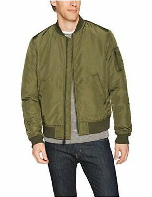 men s bomber jacket olive large satin