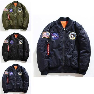 Men's Bomber Jacket US NASA MA1 Flight Baseball Coat Casual
