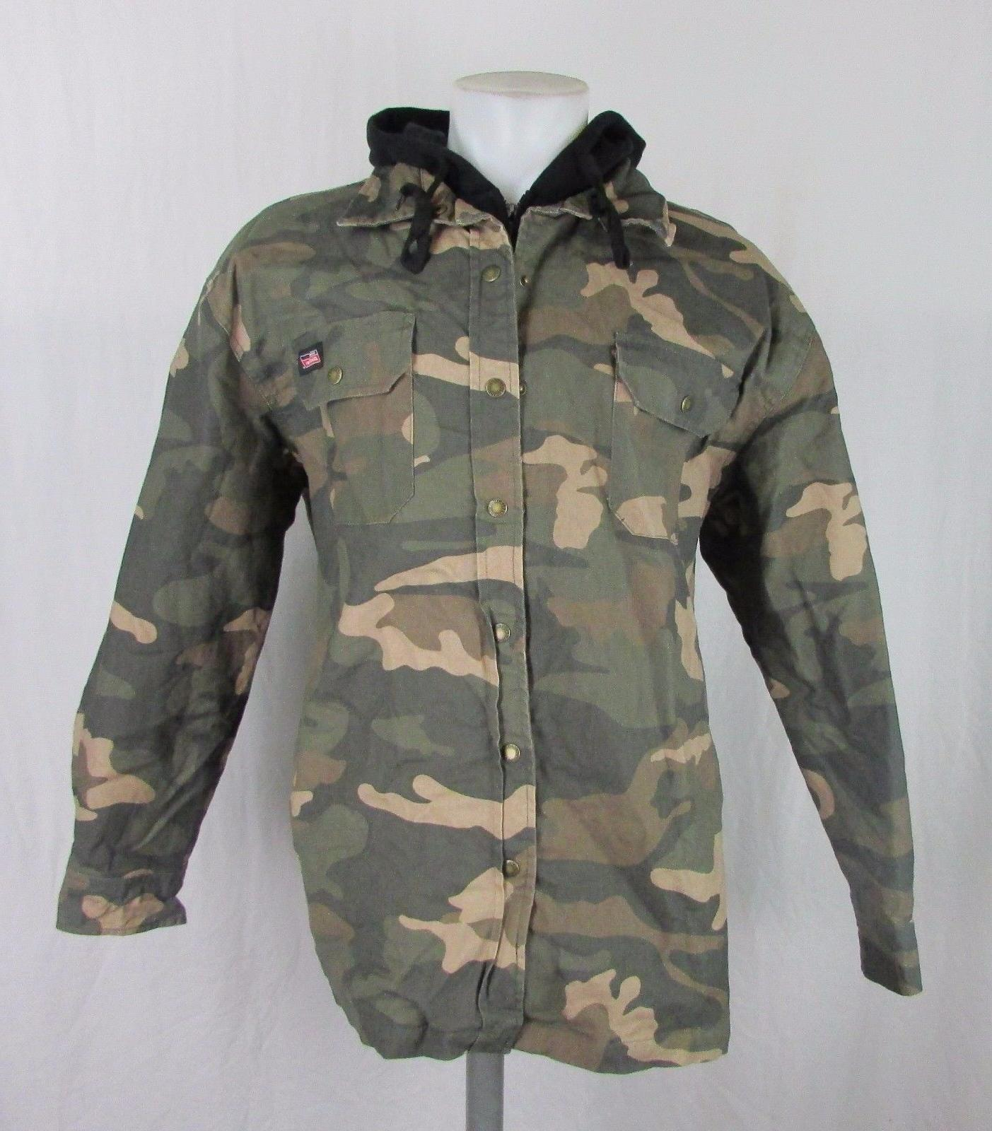 men s camo canvas hooded shirt jacket