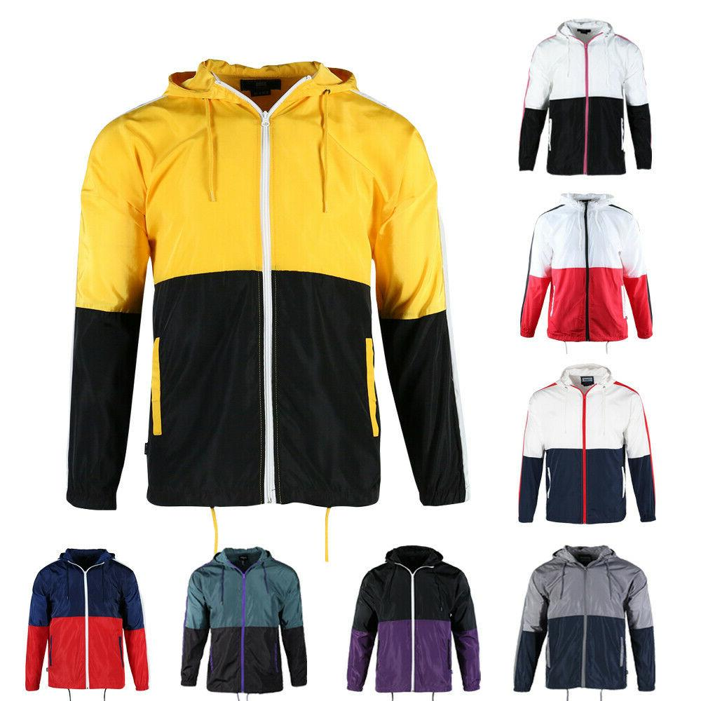 men s casual hood full zip lightweight