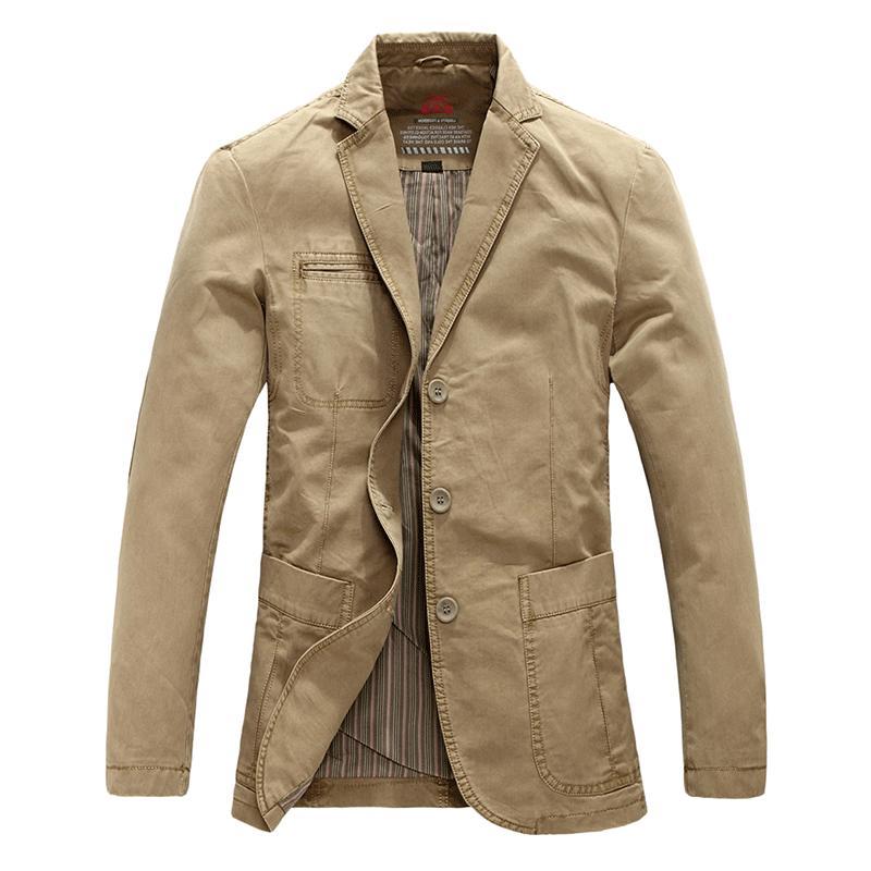 Chouyatou Men's Three-Button Stripe Lined Cotton Suit