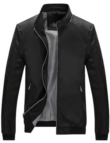 Tanming Men's Color Block Slim Casual Jacket X-Small, Black