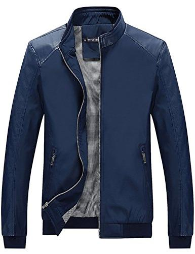men s color block slim casual jacket