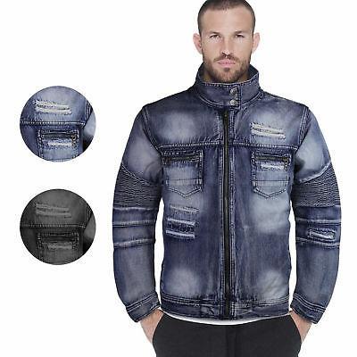 Contender Men's Distressed Multi Pocket Zip Up Cotton Denim