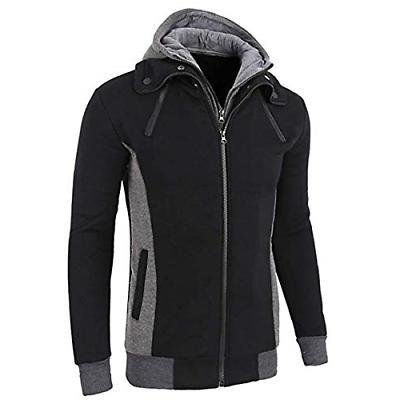 LOCALMODE Men's Double Zipper Hooded Jacket Turtleneck Fleec