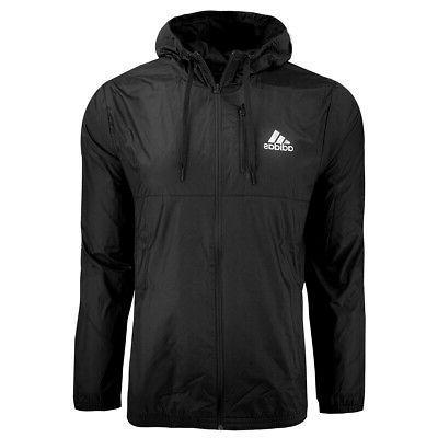 men s essentials hooded wind jacket black