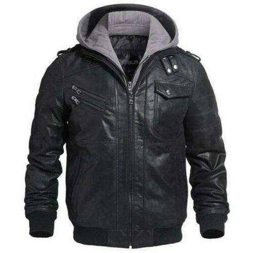 Men's Faux Leather Coat Jacket Hooded Motorcycle Biker Slim