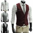 Men's Formal Casual Dress Vest Tie Suit Slim Fit Tuxedo Wais
