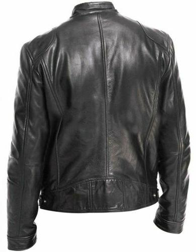 Men's Genuine Lambskin Jacket BLACK Slim Biker Jacket Coat