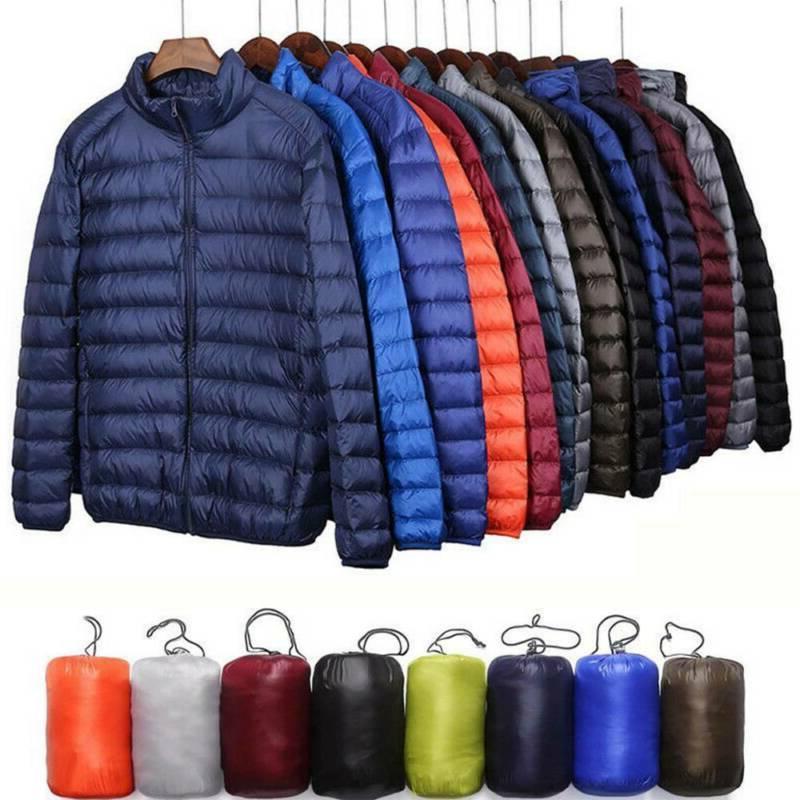 Men's Goose Jacket Packable Coat Stand Warm