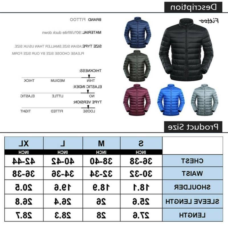 Men's Goose Jacket Packable Coat Stand Collar Warm