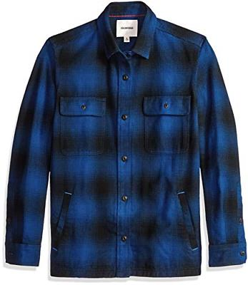 men s heavyweight flannel shirt jacket blue