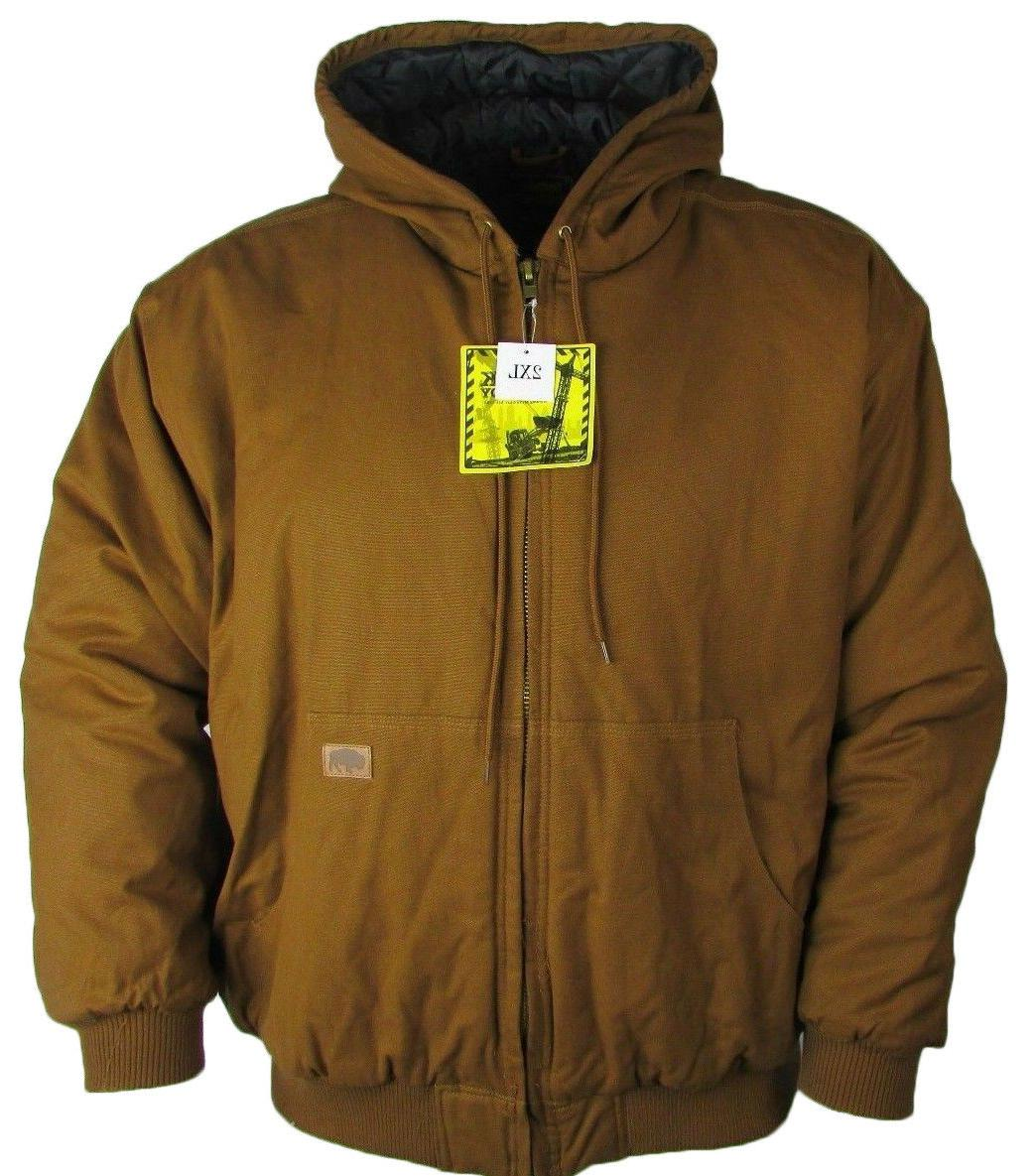 Buffalo Outdoors Men's Hooded Brown Canvas Work Jacket Style