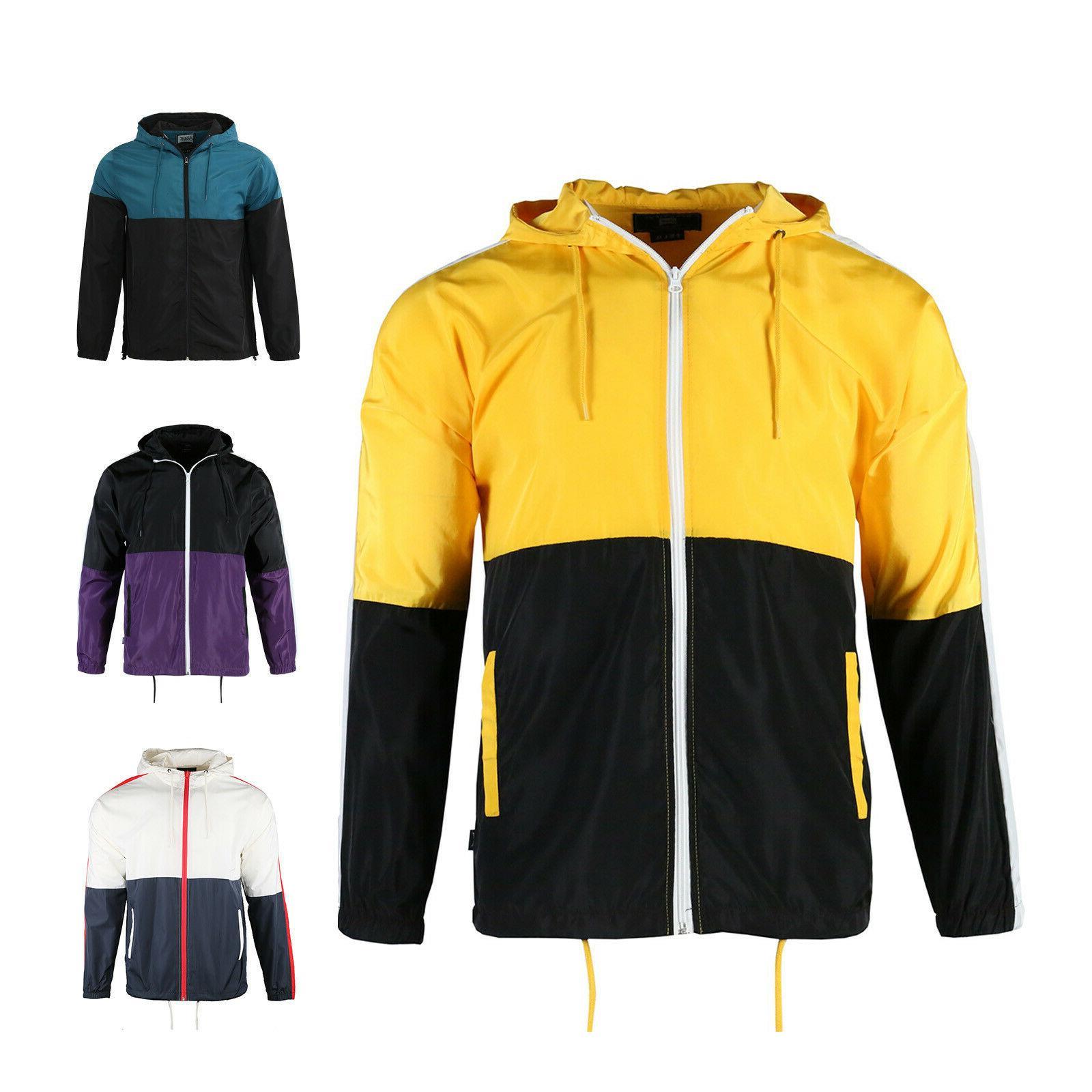 men s hooded lightweight casual colorblock windbreaker