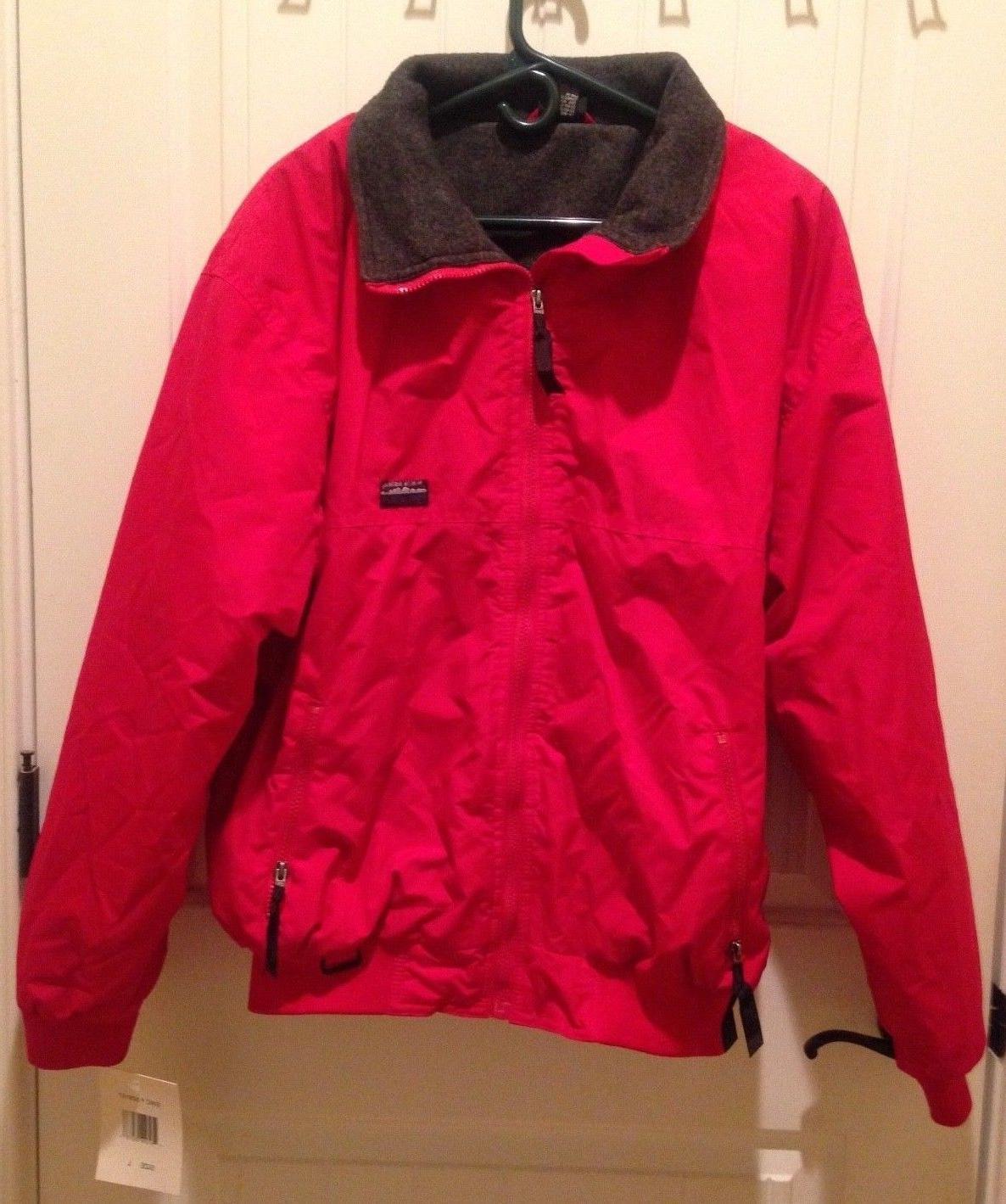 White Sierra Men's Jacket Coat Red Fleece-Lined Nylon Shell