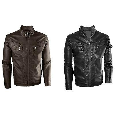 men s motorcycle faux leather jacket quilted