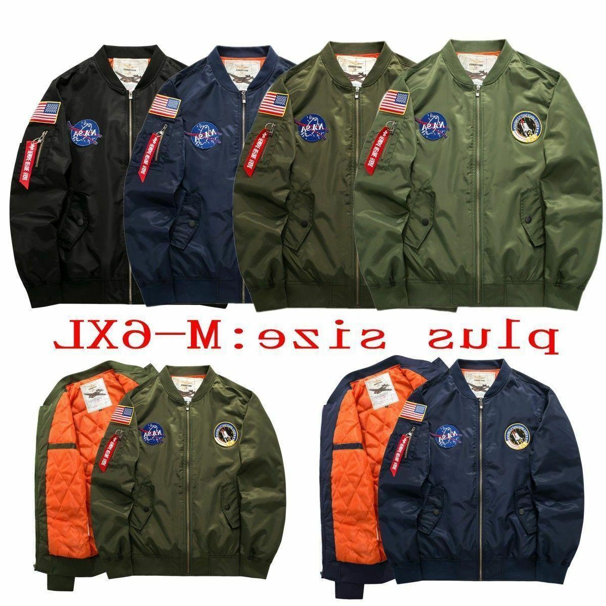 Men's NASA Biker Jackets MA1 Flight Bomber Varsity Casual Co