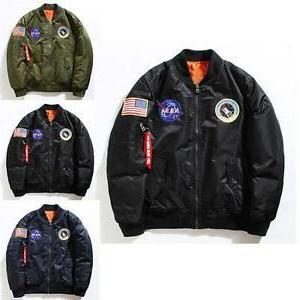 Men's Nasa Bomber Jacket Pilot MA1 Flight Air Outwear