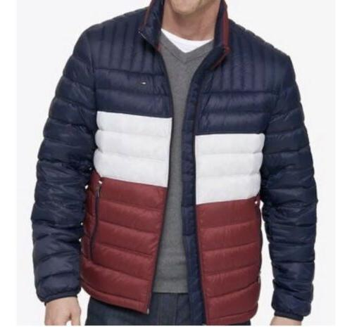 men s packable puffer jacket red white
