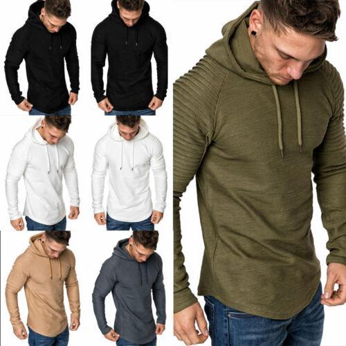 Men's Pleated Long Sleeve T-Shirt Hoodie Sweat Shirt Jacket