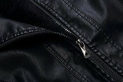 Tanming Men's PU Leather Jacket Removable Fur Hood Medium Black