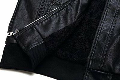 Tanming Men's PU Jacket Removable Fur
