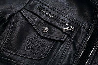 Tanming Men's PU Jacket Removable