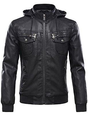 men s pu leather jacket with removable