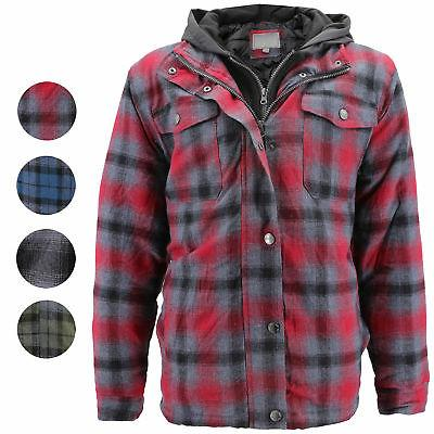 men s quilted lined cotton plaid flannel