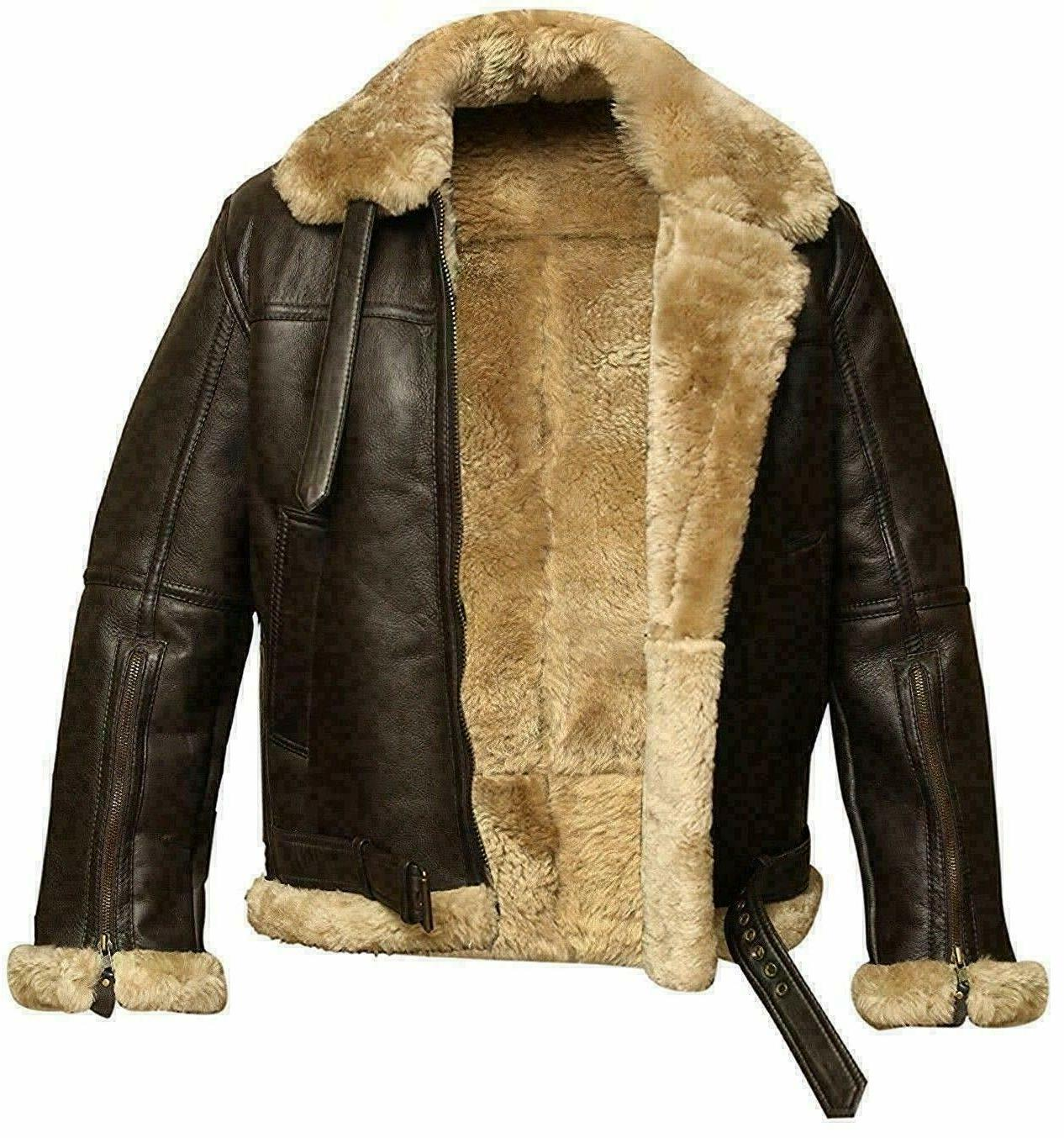 Men's RAF Aviator Real Leather Jacket Coat Bomber B3 Sheep S