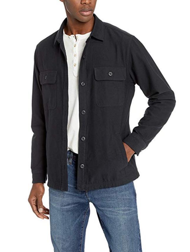 Goodthreads Jacket, Military Twill Black, 15-15.5; 34.5-35
