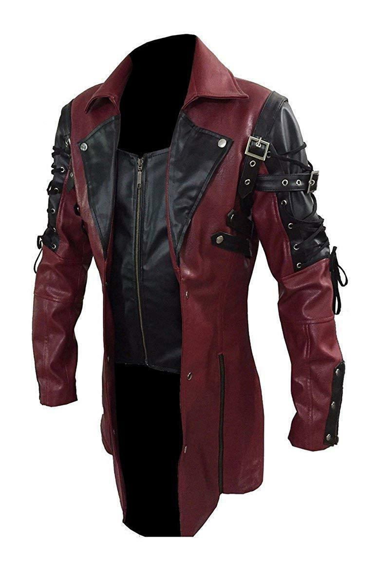 Men's Steampunk Gothic Leather Trench Coat Jacket Goth Punk