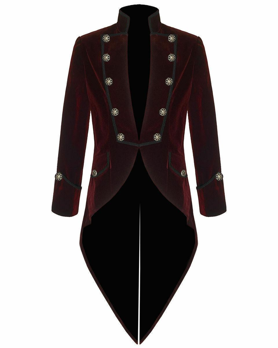 Men's Handmade Steampunk Tailcoat Jacket Red And Black Velve
